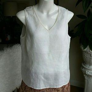 Allison Taylor white linen top size XL